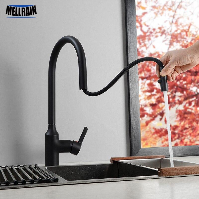 Hidden Aerator Pull Out Kitchen Faucet Matte Black & Chrome Kitchen Sink Water Mixer Tap Single Hole Basin Brass Faucet